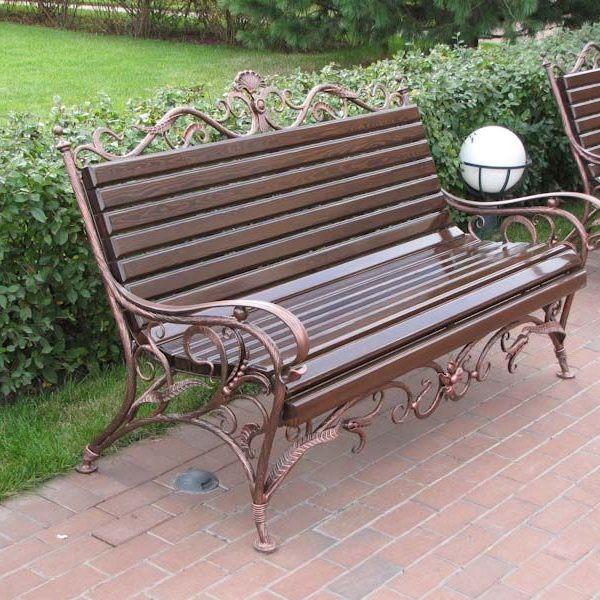 Кованые скамейки Уличная кованая скамейка Арт. СК-005 Norkovka
