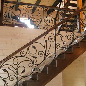 Кованые лестницы Кованая лестница из темного металла Аксель Арт. Л-003 Norkovka