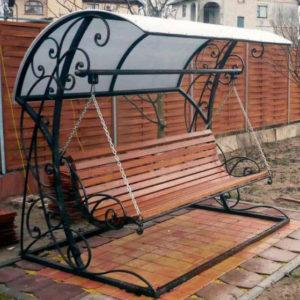 Кованые скамейки Кованые качели с навесом Арт. СК-009 Norkovka