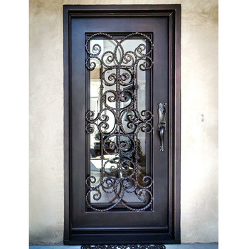 Кованые двери Кованая дверь со стеклом Арт. Д-002 Norkovka